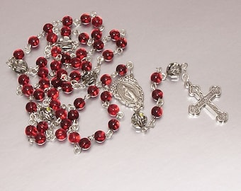 ALL Sterling Silver Vintage Czech Glass Catholic Rosary