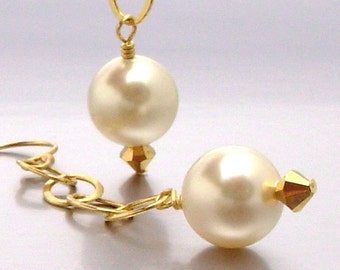 14kt GF Swarovski Pearl Drop Earrings