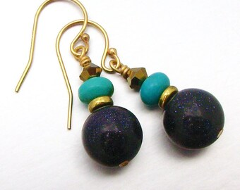 14kt GF Blue Goldstone and Turquoise Drop Earrings