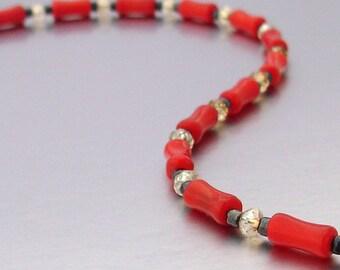 14kt GF Red Bamboo Coral & Swarovski Crystal Bracelet