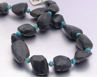 Obsidian and Turquoise Necklace