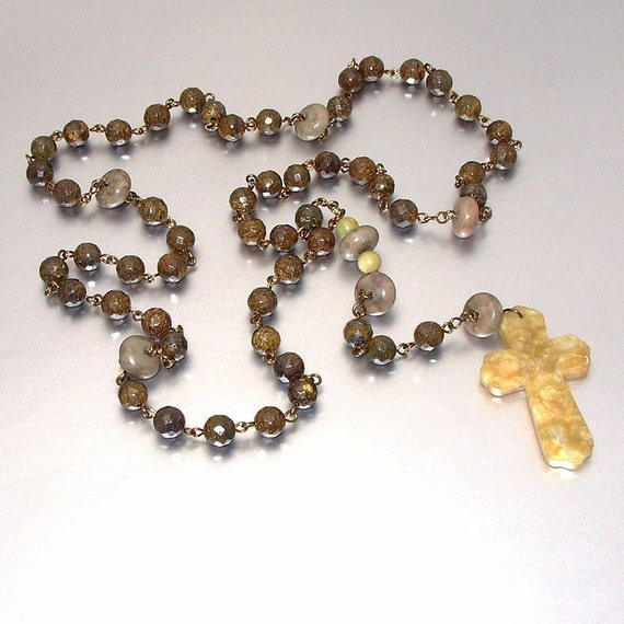 SALE 40% OFF - Catholic Rosary of Bronzite with Yellow Jade Cross & Jasper Accents