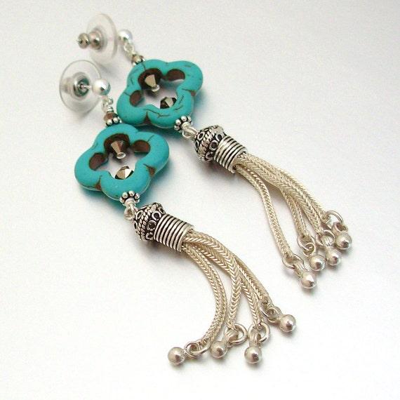Magnesite Clover & Sterling Silver Tassel Earrings