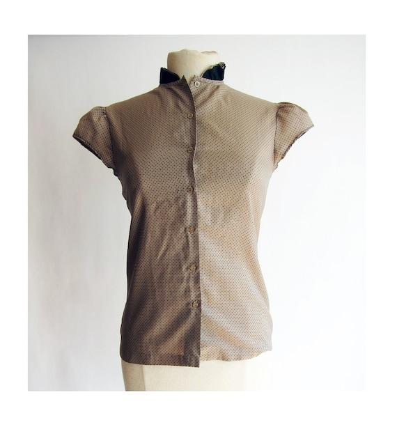 RESERVED FOR MICHELLE - Polka Dot Blouse . Cap Sleeve . 1970s