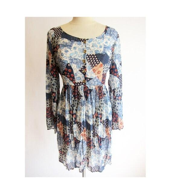 Patchwork Floral Dress . 1990s