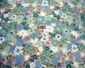 U69 Reclaimed Mini Teal Blue Purple Flowers Bed Sheet Fat Quarter  FQ