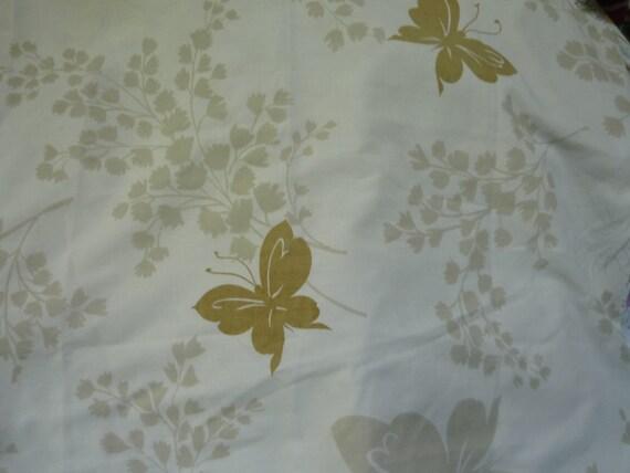 Vintage Pillowcase Brown Butterflies on Beige Light Tan