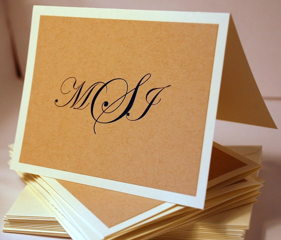 Custom Monogrammed Thermography Thank You Cards