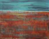 Abstract landscape, rust and blue field and city, giclee on canvas titled Bayou City, by Aquagirl Art