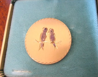 Vintage LOVE BIRDS Brooch 12Kt Gold filled Original Box