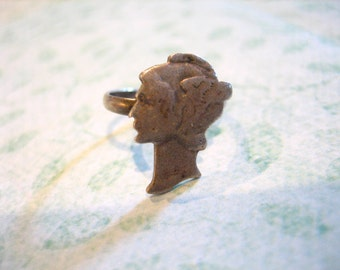 Vintage Sterling Silver Liberty Dime Cutout Ring