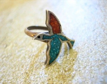 Vtg Sterling Silver Inlaid Turquoise & Coral BIRD Ring