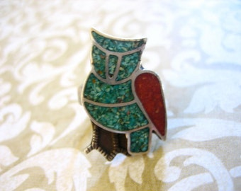 Vintage Sterling Inlaid Turquoise & Coral OWL Ring