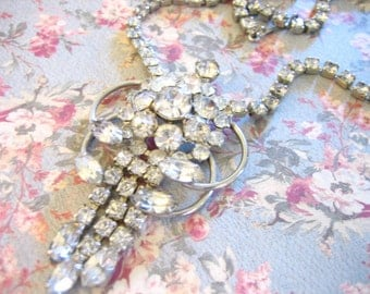 Vintage Silver Rhinestone Necklace With Matching Earrings
