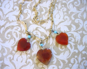 Vintage CARNELIAN HEARTS w Turquoise Beads GF Necklace