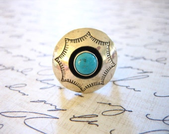 Vintage Sterling Silver and Turquoise Southwestern Ring
