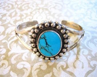 Vintage Sterling Silver Large Turquoise Southwestern Cuff BRACELET