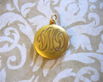 Antique Gold Filled Locket w Script Initials Monogram and Red Paste Stone