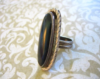 Vintage Sterling Silver Onyx Indian Ring