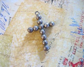 Vintage Sterling Silver BEAD CROSS Pendant