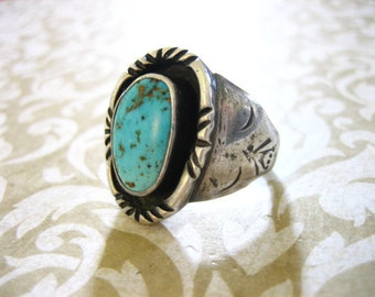Large Vintage Sterling Silver and Turquoise Southwestern Ring