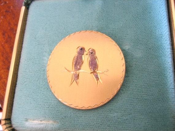 Vintage LOVE BIRDS Brooch 12Kt Gold filled Original Box
