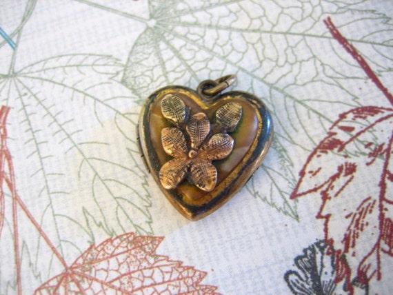 RESERVE for Lisa deHart Vintage Gold Filled HEART LOCKET w Pansy Flower Pendant