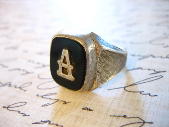 vintage sterling silver onyx signet ring with a initial