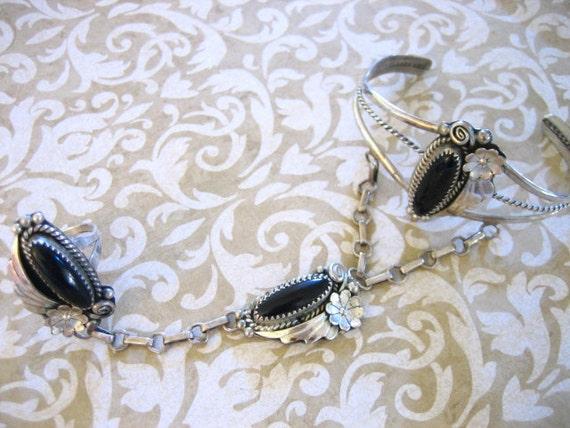 Vintage Sterling Silver Black Onyx Slave Bracelet Ring Navajo
