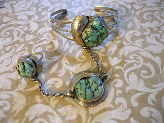 Vintage Sterling Silver Chunky Turquoise Slave Bracelet Ring