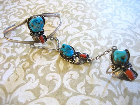 Vintage Sterling Silver Turquoise and Coral Slave Bracelet Ring Navajo