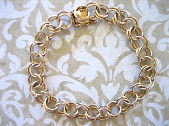 Vintage 12 Kt Gf  Double Link Charm Bracelet