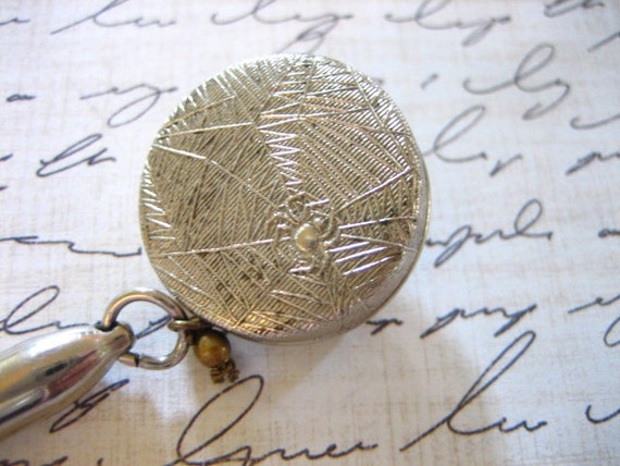 Vintage Silver Tone Spider Web Retractable Chain Mechanical Pencil Pin
