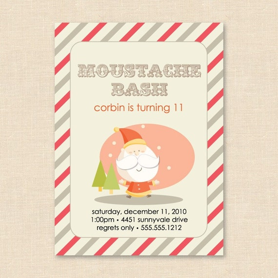 Secret Santa Mustache Bash Holiday Party By Blushprintables