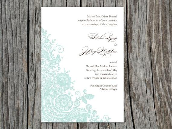 Items Similar To Vintage Lace Wedding Invitation Set Printable Design DIY