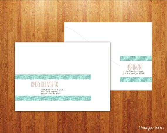 Wrap Around Address Labels - Printable - DIY - For Showers, Weddings, Save the Dates and more
