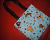 Loving Kitties tote bag with black lining- small