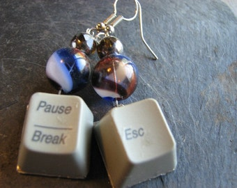 Sweet Escape - Upcycled Computer Key Earrings with Glass Beads