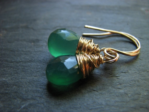 Bold Green Stone Earrings 14k Gold Filled Wire Wrap Wrapped Petite Dangle Drops
