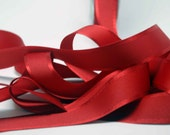 Grosgrain Ribbon With Satin Edge -- 1 Inch Wide -- Deep Red