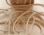 Jute Cord Roping Trim -- 1/8 inch --  Natural Brown -- Rustic Vintage Burlap