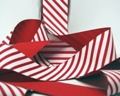 Candy Cane Stripe Ribbon -- 1 1/2 Inch -- Red White Peppermint Stripe
