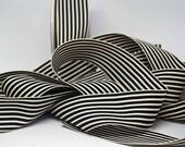 BULK Striped Grosgrain Ribbon 15 yards -- 1.5 inches -- Black Cream