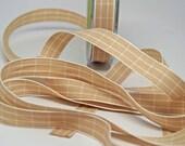 Grid Check Ribbon 5/8 inch -- Kraft Brown -- Khaki Tan Light Brown White
