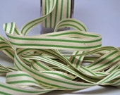 Cotton Stripe Ribbon 5/8 inch -- Natural Grass Green -- Off White Green Cream