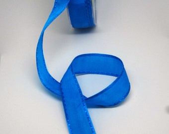 SALE  Satin Stitch Ribbon -- 1 inch -- Brilliant Blue