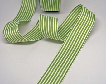 BULK Striped Grosgrain Ribbon 15 yards -- 1.5 inches -- Green White