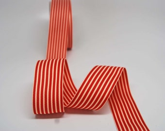 Striped Grosgrain Ribbon -- 1.5 inches -- Red Cream