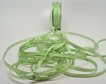 Grosgrain Striped Ribbon -- 3/16 inch -- Leaf Green White