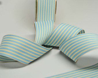 Striped Grosgrain Ribbon -- 1.5 inches -- Baby Blue Cream